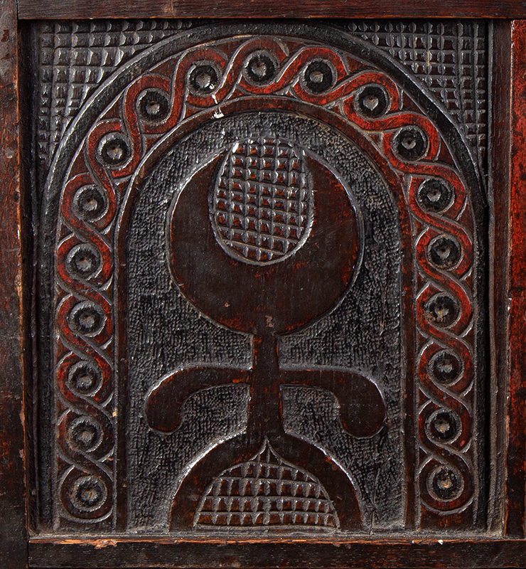 Joined, Carved and Polychromed Coffer, Likely Somerset, or Dorset England, detail view 1