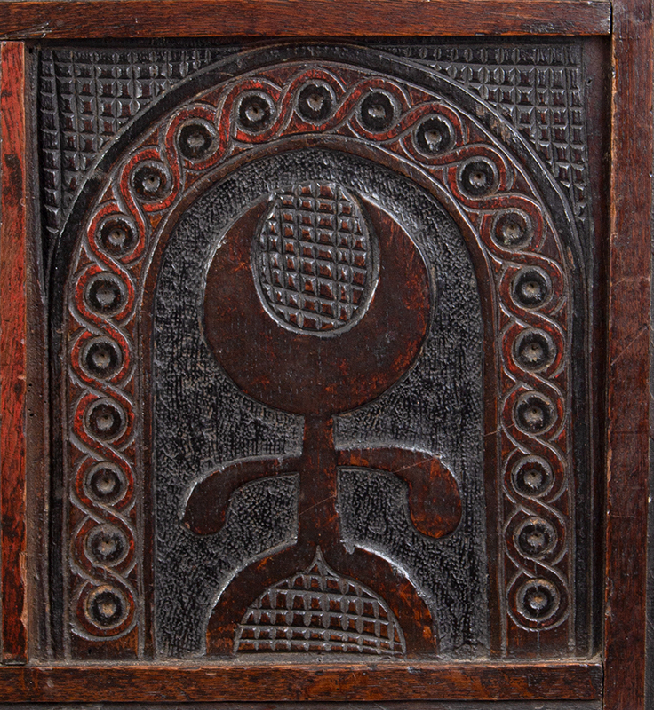 Joined, Carved and Polychromed Coffer, Likely Somerset, or Dorset England, detail view 3