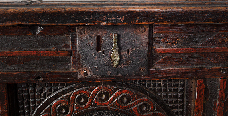 Joined, Carved and Polychromed Coffer, Likely Somerset, or Dorset England, detail view 4