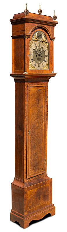Thomas Colley Longcase Clock, Inlaid Burl Walnut, Brass Dial, London, entire view 1