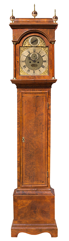 Thomas Colley Longcase Clock, Inlaid Burl Walnut, Brass Dial, London, entire view 2