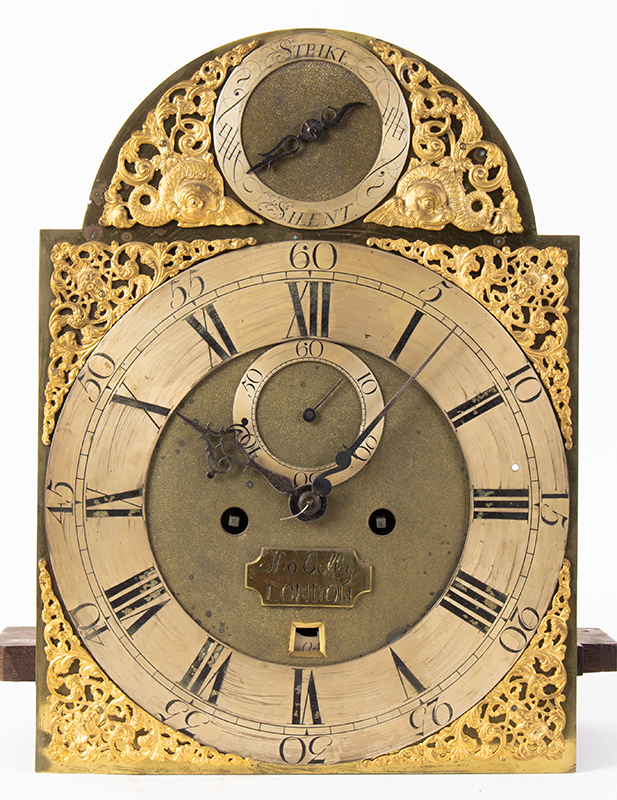Thomas Colley Longcase Clock, Inlaid Burl Walnut, Brass Dial, London, face detail