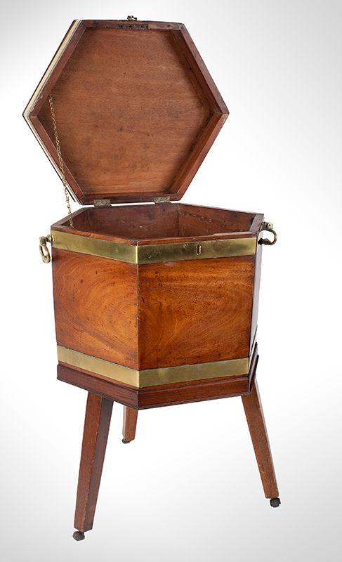 Mahogany Brass Bound George III Cellarette on Stand with Casters England, entire view 2
