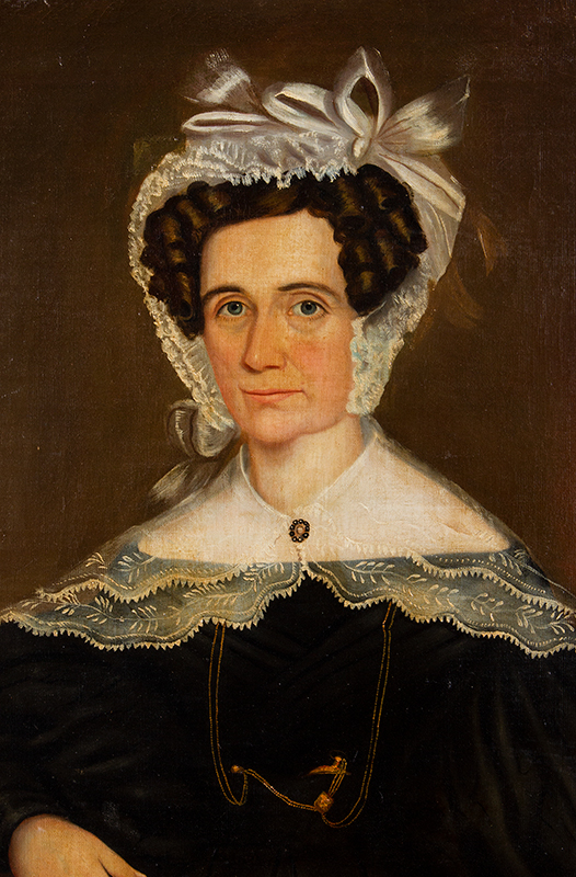Folk Portrait, Lady Wearing Lace Bonnet and Fichu Anonymous, New England, entire view sans frame