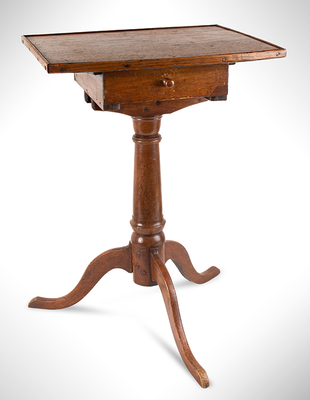 Candlestand, Bowed Front Above Drawer, American, entire view 1