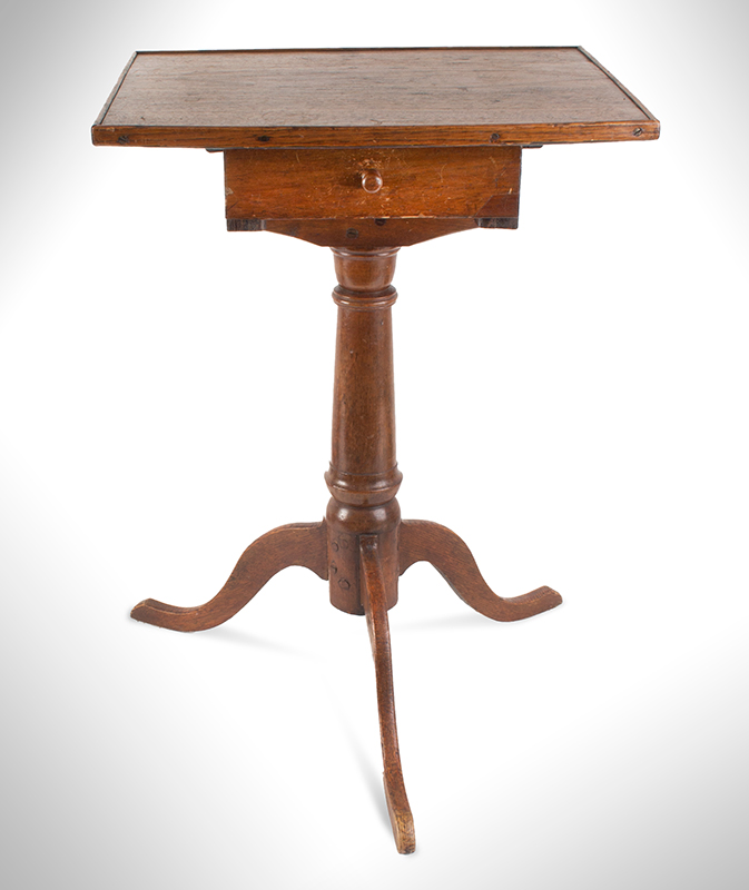 Candlestand, Bowed Front Above Drawer, American, entire view 2