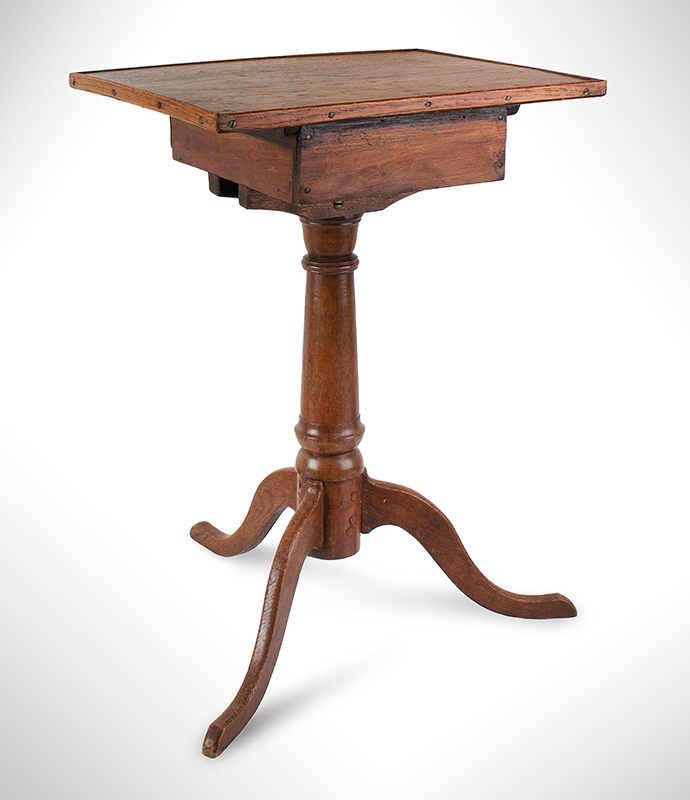 Candlestand, Bowed Front Above Drawer, American, entire view 3