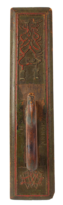Antique Mangle Board, Denmark, Carved & Painted, entire view 2