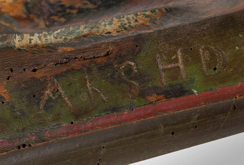 Antique Mangle Board, Denmark, Carved & Painted, detail view 2