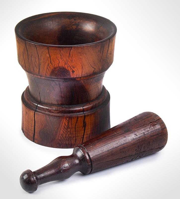 Mortar & Pestle, Lignum Vitae, Outstanding Wood & Color, entire view 2