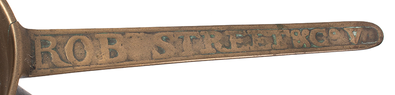 Posnet, Robert Street & Co. V, Bronze Skillet Robert Street, Brass Founders, Bridgewater, Somerset, England, handle
