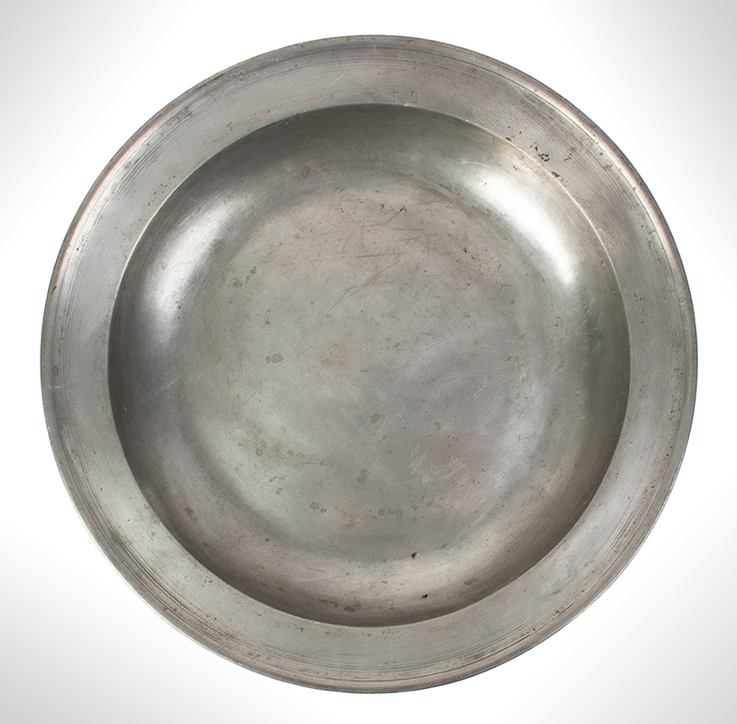 Pewter Deep Dish, James Hitchman, London, Single Reed, 16.25-Inches, entire view