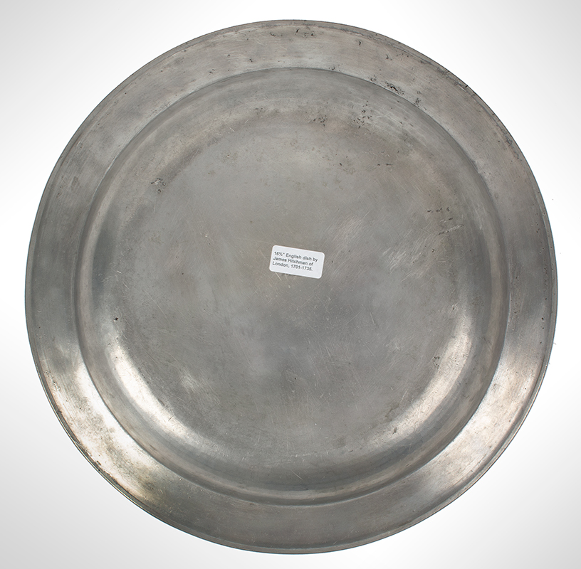 Pewter Deep Dish, James Hitchman, London, Single Reed, 16.25-Inches, back view
