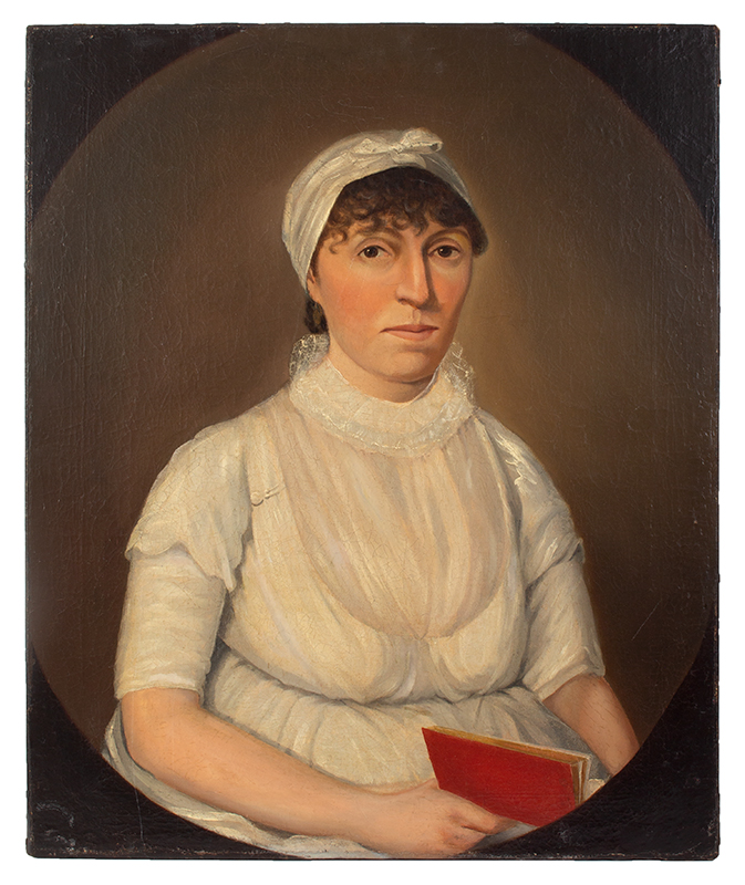 Portrait, Young Woman in White Holding Red Book William Jennys (1774-1859), entire view