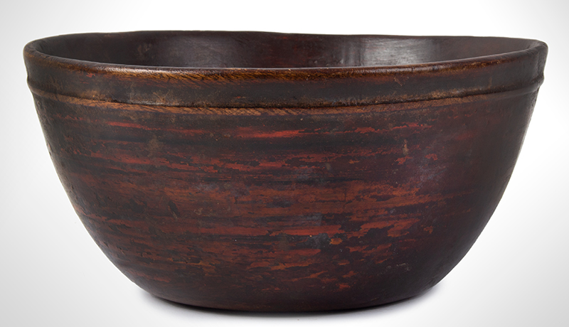 Early Treen Bowl, Painted, entire view 1