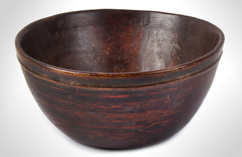 Early Treen Bowl, Painted, entire view 2