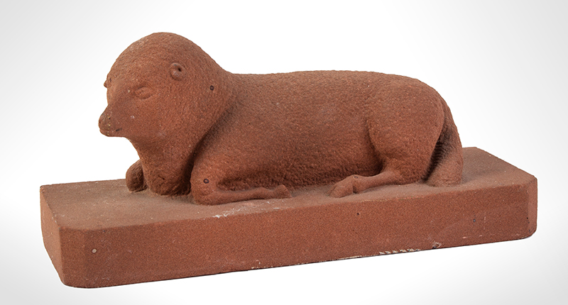 Sculpture, Recumbent Lamb, Likely for Gravestone, Never Used, entire view 1
