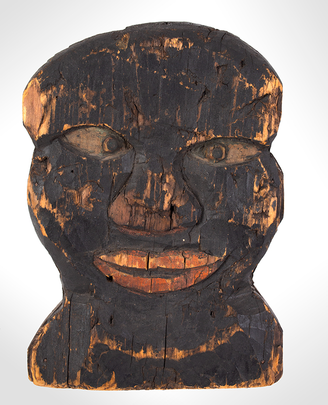 Folk Art, Carnival Knockdown Head, Carved and Painted Wood, entire view 1