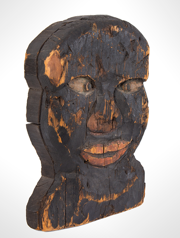 Folk Art, Carnival Knockdown Head, Carved and Painted Wood, entire view 2