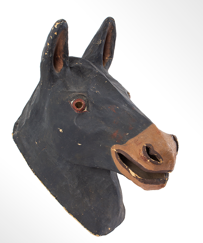 Paper Mache Horse Head Mask, American Mask Manufacturing Co., Labeled Findlay, Ohio, entire view 1