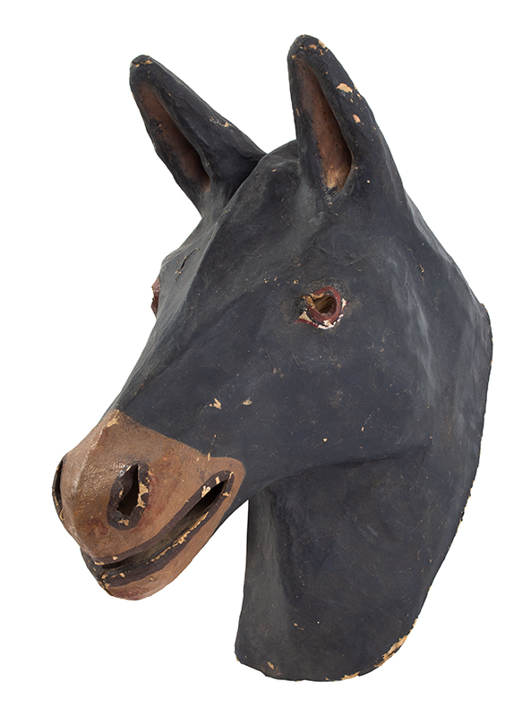 Paper Mache Horse Head Mask, American Mask Manufacturing Co., Labeled Findlay, Ohio, entire view 2