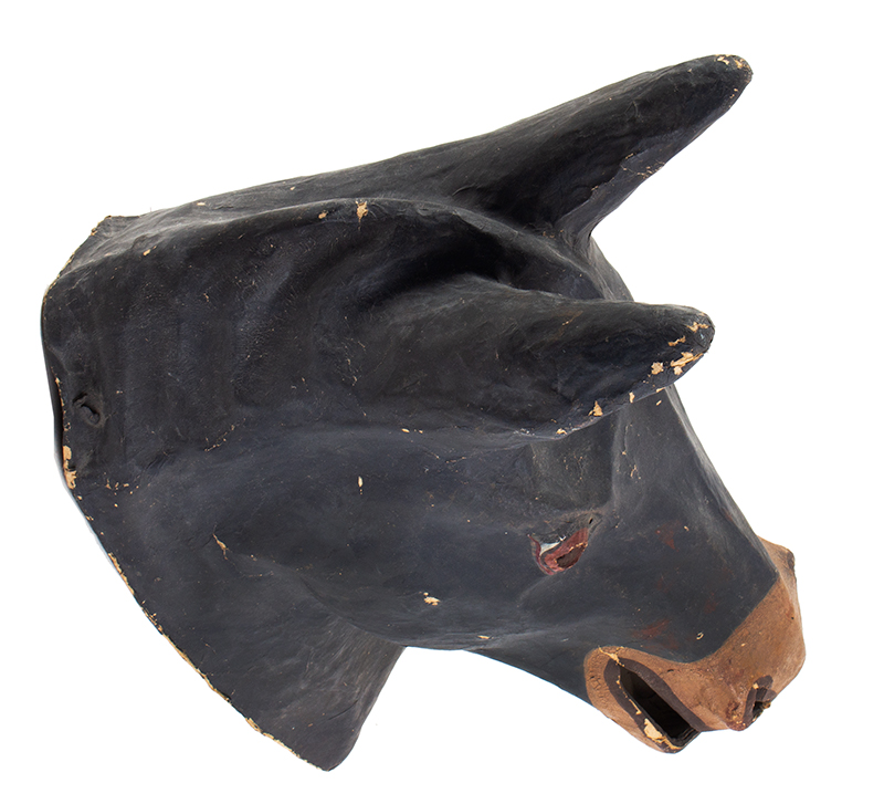 Paper Mache Horse Head Mask, American Mask Manufacturing Co., Labeled Findlay, Ohio, entire view 3