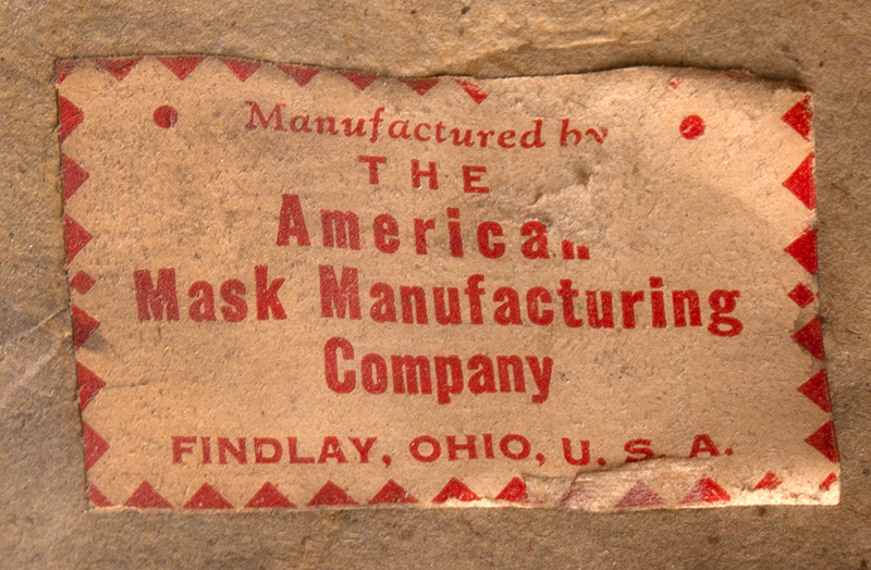 Paper Mache Horse Head Mask, American Mask Manufacturing Co., Labeled Findlay, Ohio, label view