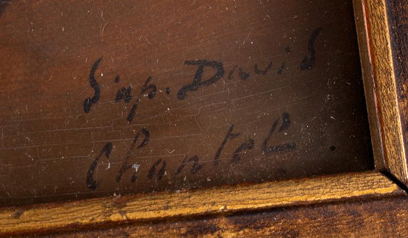 After Jacques-Louis David [1800], Portrait, Madame Récamier on Directoire Sofa, signature view