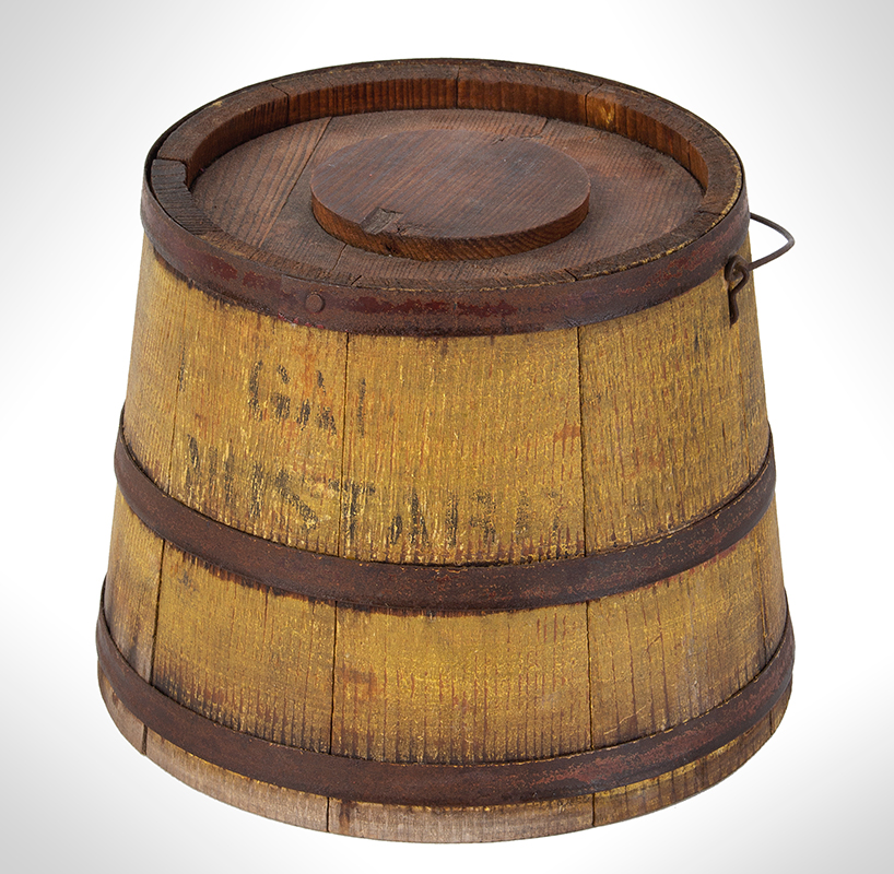 Country Store Staved Lidded Pail, Firkin w/ Lid, Original Mustard Yellow, Stenciled, – Mustard, entire view 1