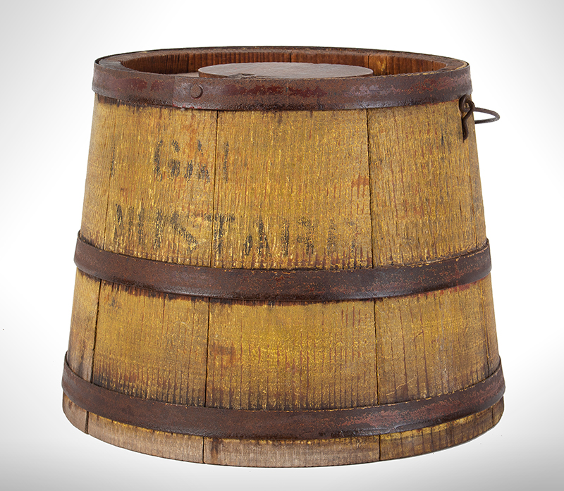Country Store Staved Lidded Pail, Firkin w/ Lid, Original Mustard Yellow, Stenciled, – Mustard, entire view 2