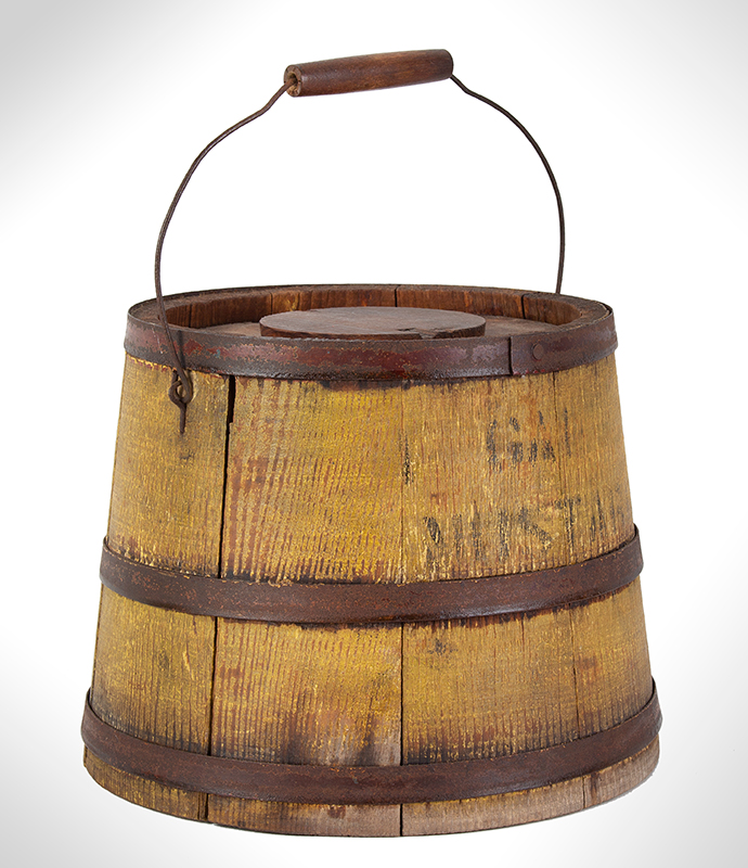 Country Store Staved Lidded Pail, Firkin w/ Lid, Original Mustard Yellow, Stenciled, – Mustard, entire view 3