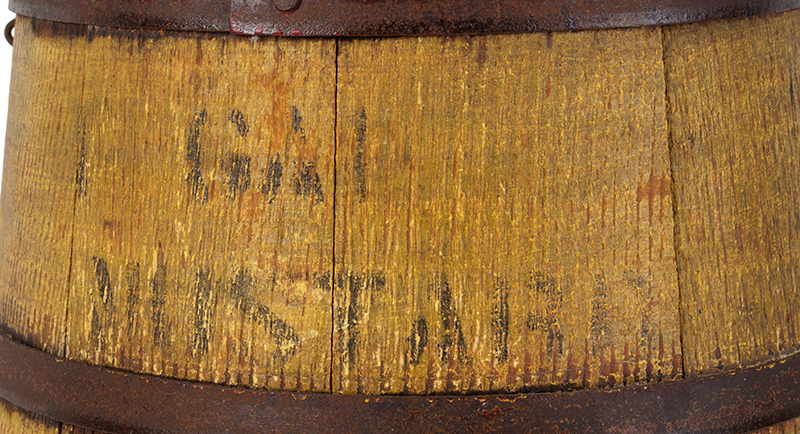 Country Store Staved Lidded Pail, Firkin w/ Lid, Original Mustard Yellow, Stenciled, – Mustard, detail view