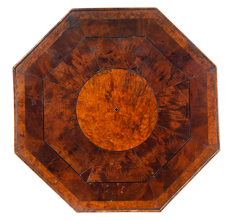 18th Century Candlestand, Outstanding Mixed Burls and Figured Wood Veneers Alternating bands of highly figured veneers featuring mahogany with bold  medullary rays, contrasting birds eye eveners, and ebony string inlay, and a small brass circular inlay at center having ebony inset. A distinctive table., top view