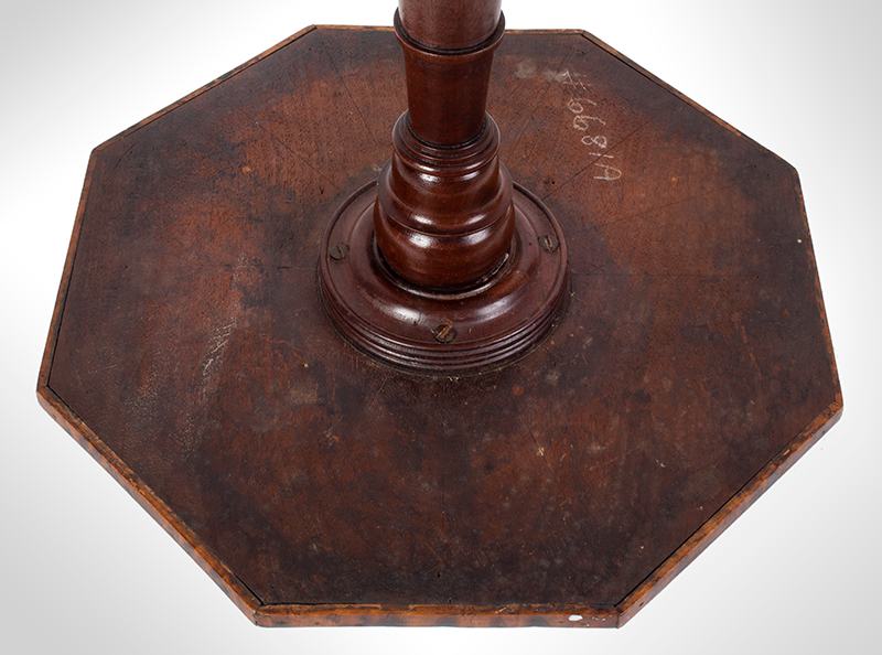 18th Century Candlestand, Outstanding Mixed Burls and Figured Wood Veneers Alternating bands of highly figured veneers featuring mahogany with bold  medullary rays, contrasting birds eye eveners, and ebony string inlay, and a small brass circular inlay at center having ebony inset. A distinctive table., underside view