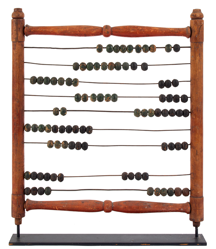 Antique Abacus, Calculator, Original Paint, entire view 2