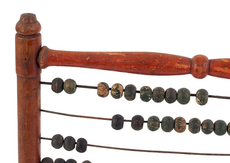 Antique Abacus, Calculator, Original Paint, detail view
