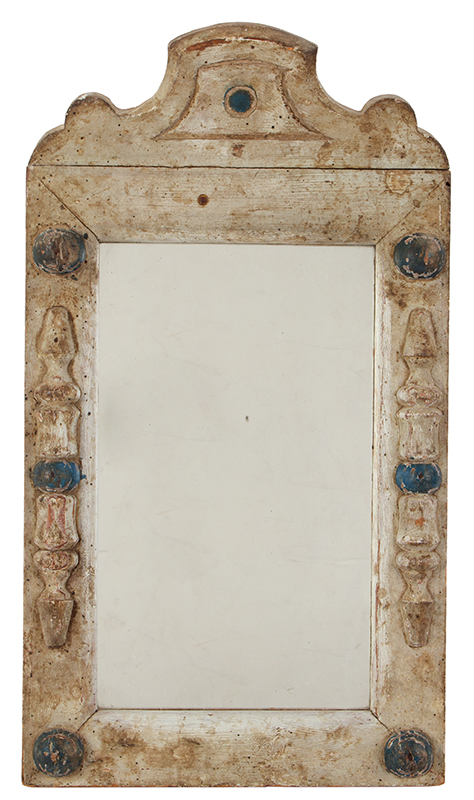 Courting Mirror, Original Paint, Turned Split & Applied Columns and Spheres, entire view 1