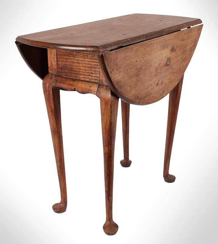 Queen Anne Drop Leaf Table, Rhode Island, or Southeastern Massachusetts Rare Small Size, entire view 3