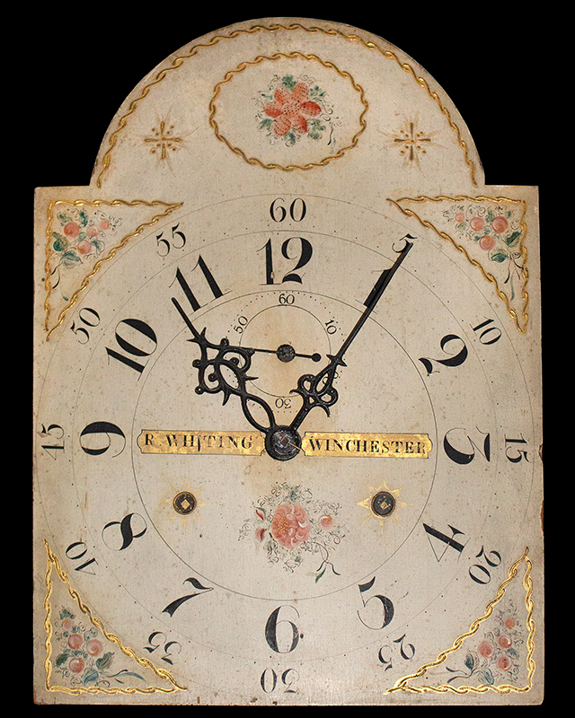 Riley Whiting Painted Tall Case Clock Winchester, Connecticut, face view