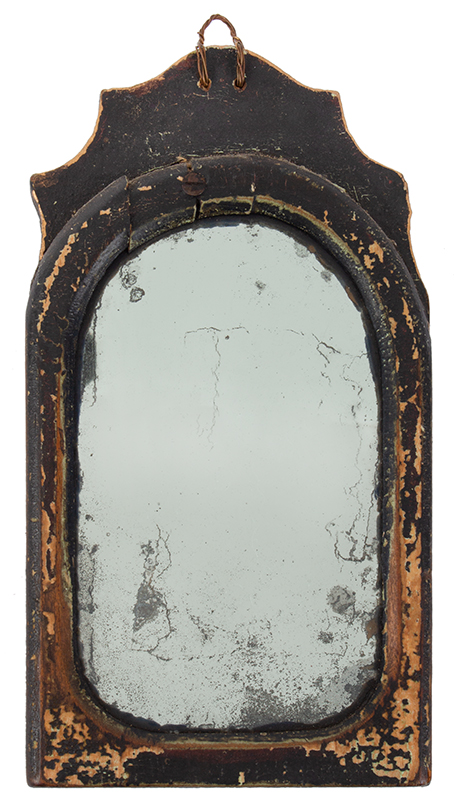 Small Antique Mirror, Scalloped Crest, Old Black Paint, entire view