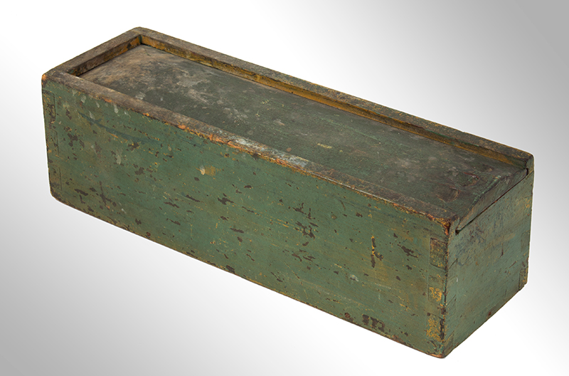 Candle Box, Paneled Slide Lid, Green Paint, entire view 1