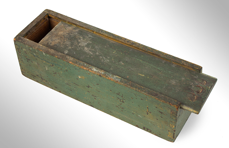 Candle Box, Paneled Slide Lid, Green Paint, entire view 2