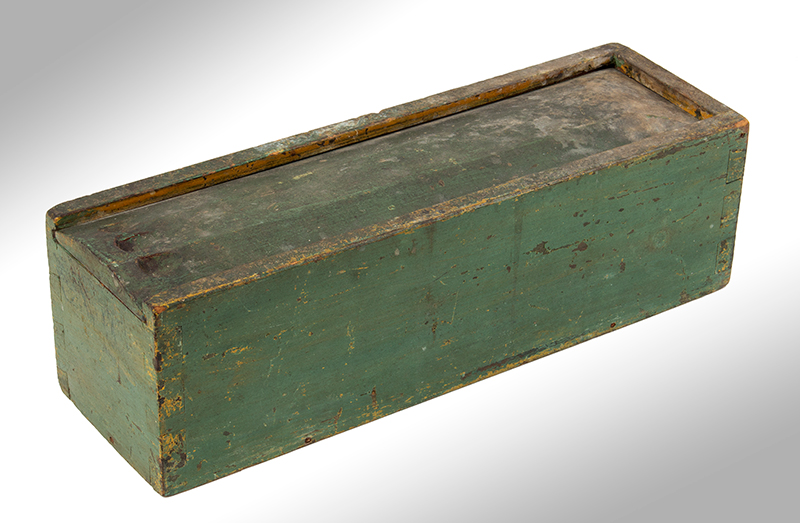 Candle Box, Paneled Slide Lid, Green Paint, entire view 3