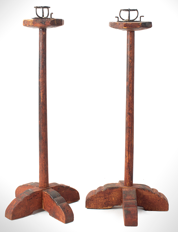 Standing Pricket Candlestands, Pair, Original Painted Surface Anonymous, entire view