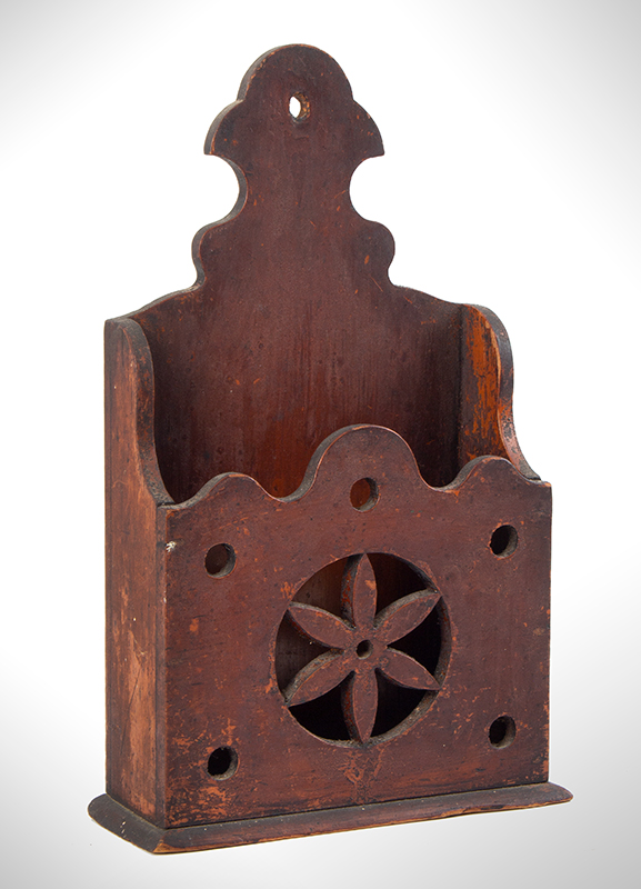 Outstanding Wall Box in Original Red Paint, Pierced New England, possibly Connecticut, entire view 2