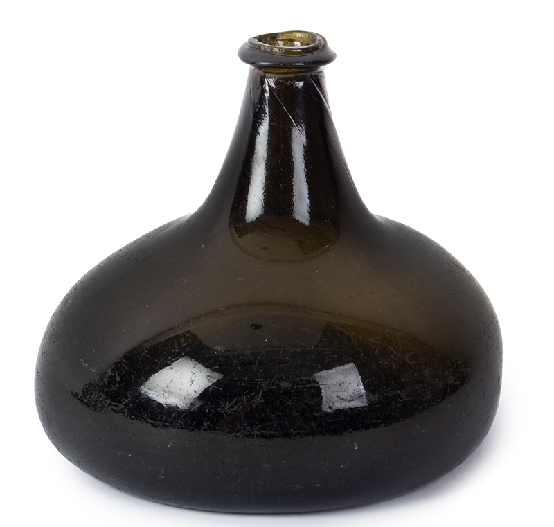Early 18th Century Onion Bottle, Wine Bottle Displaying the Character of Early Handblown Forms England, entire view