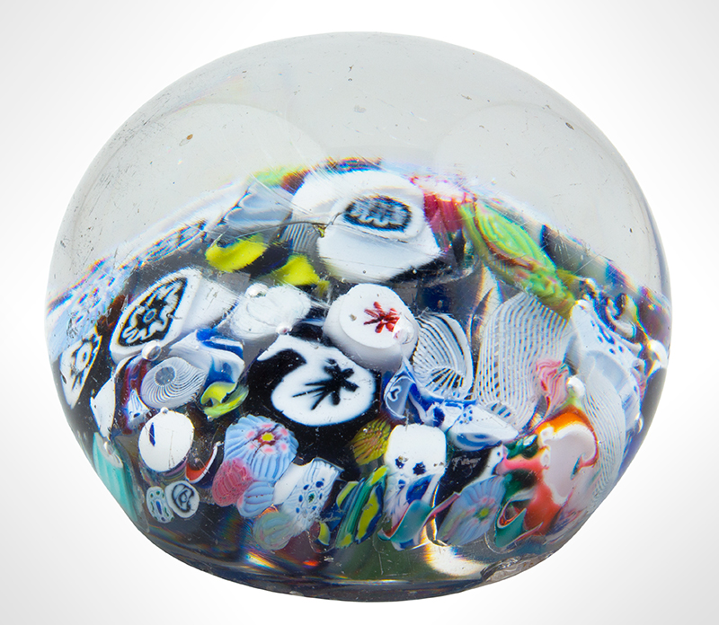 Vintage Glass Scramble Millefiori Paperweight, End of Day, entire view 2
