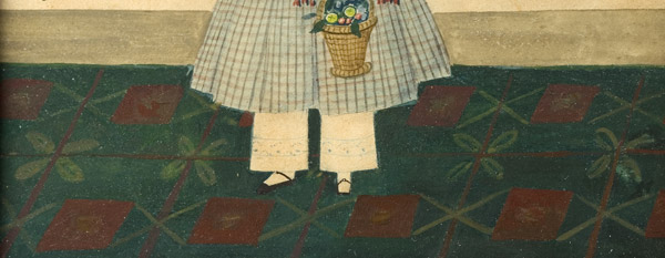 Folk Art Watercolor Portraits, Young Sisters Holding Doll & Basket of Flowers Full Length Images, Great Dresses and Floorcloth, Anonymous, detail view 3