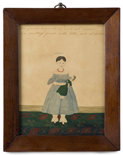 Folk Art Watercolor Portraits, Young Sisters Holding Doll & Basket of Flowers Full Length Images, Great Dresses and Floorcloth, Anonymous, entire view 1