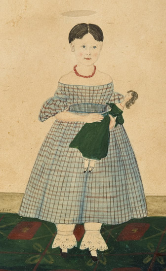 Folk Art Watercolor Portraits, Young Sisters Holding Doll & Basket of Flowers Full Length Images, Great Dresses and Floorcloth, Anonymous, entire view sans frame